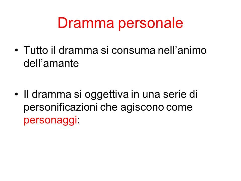 Dramma personale Tutto il dramma si consuma nellanimo dellamante Il dramma si oggettiva in una serie di personificazioni che agiscono come personaggi: