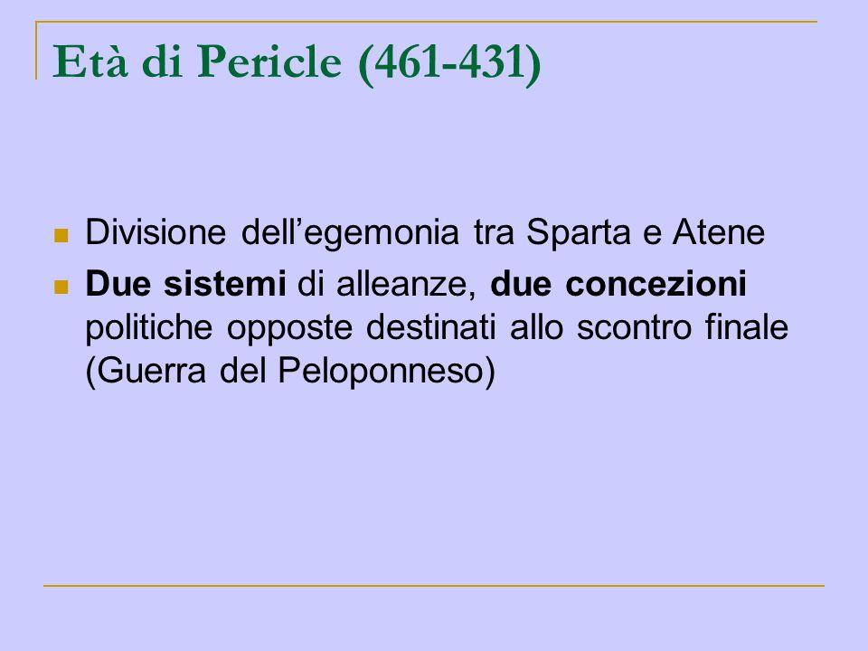 Età di Pericle (461-431) Divisione dellegemonia tra Sparta e Atene Due sistemi di alleanze, due concezioni politiche opposte destinati allo scontro fi
