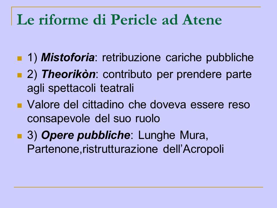 Le riforme di Pericle ad Atene 1) Mistoforia: retribuzione cariche pubbliche 2) Theorikòn: contributo per prendere parte agli spettacoli teatrali Valo