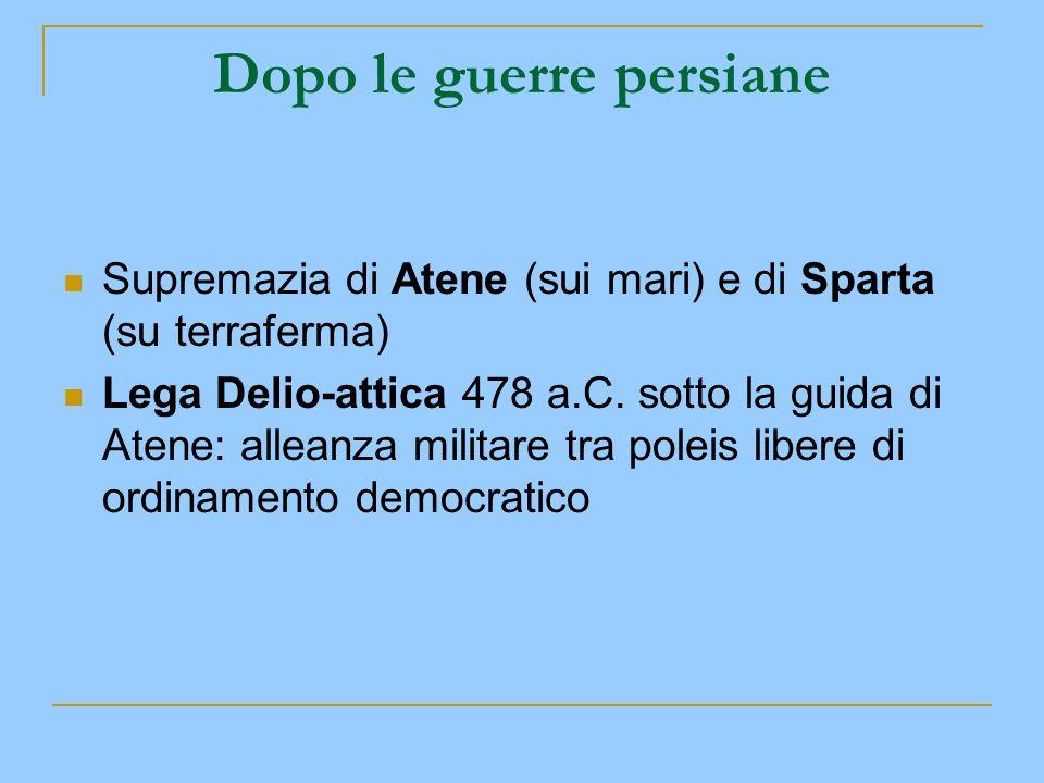 Dopo le guerre persiane Supremazia di Atene (sui mari) e di Sparta (su terraferma) Lega Delio-attica 478 a.C. sotto la guida di Atene: alleanza milita