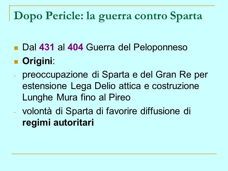 Dopo Pericle: la guerra contro Sparta Dal 431 al 404 Guerra del Peloponneso Origini: - preoccupazione di Sparta e del Gran Re per estensione Lega Deli