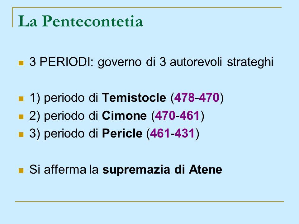La Pentecontetia 3 PERIODI: governo di 3 autorevoli strateghi 1) periodo di Temistocle (478-470) 2) periodo di Cimone (470-461) 3) periodo di Pericle
