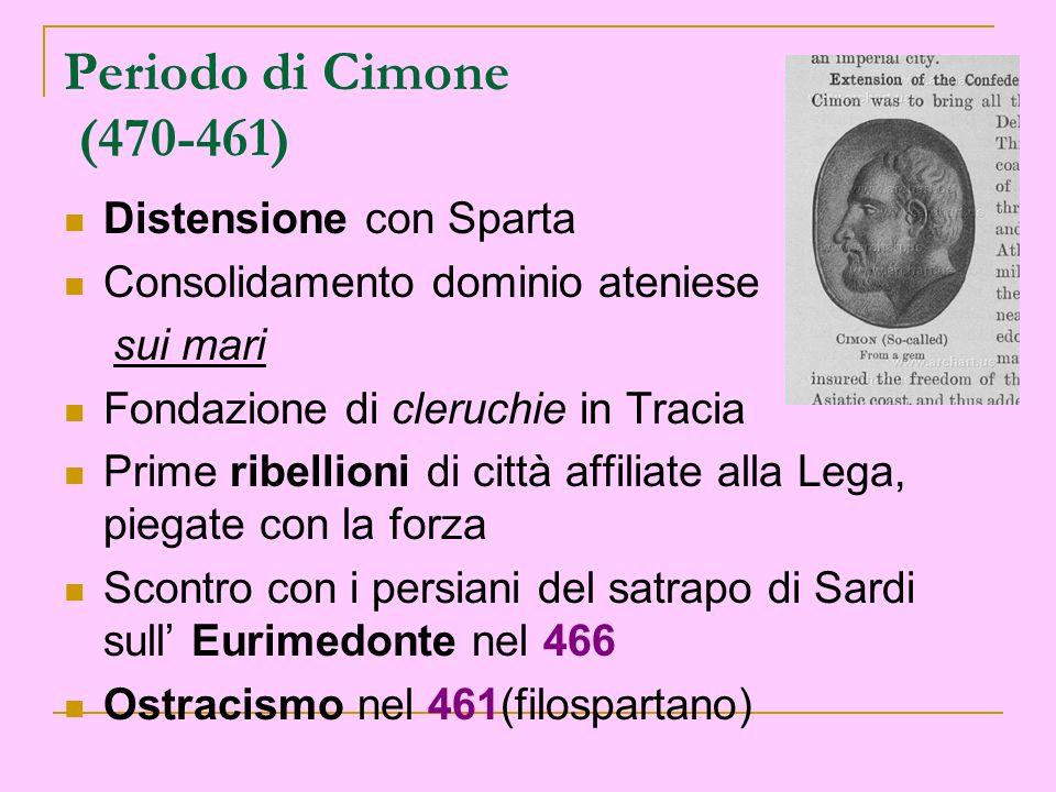 Periodo di Cimone (470-461) Distensione con Sparta Consolidamento dominio ateniese sui mari Fondazione di cleruchie in Tracia Prime ribellioni di citt