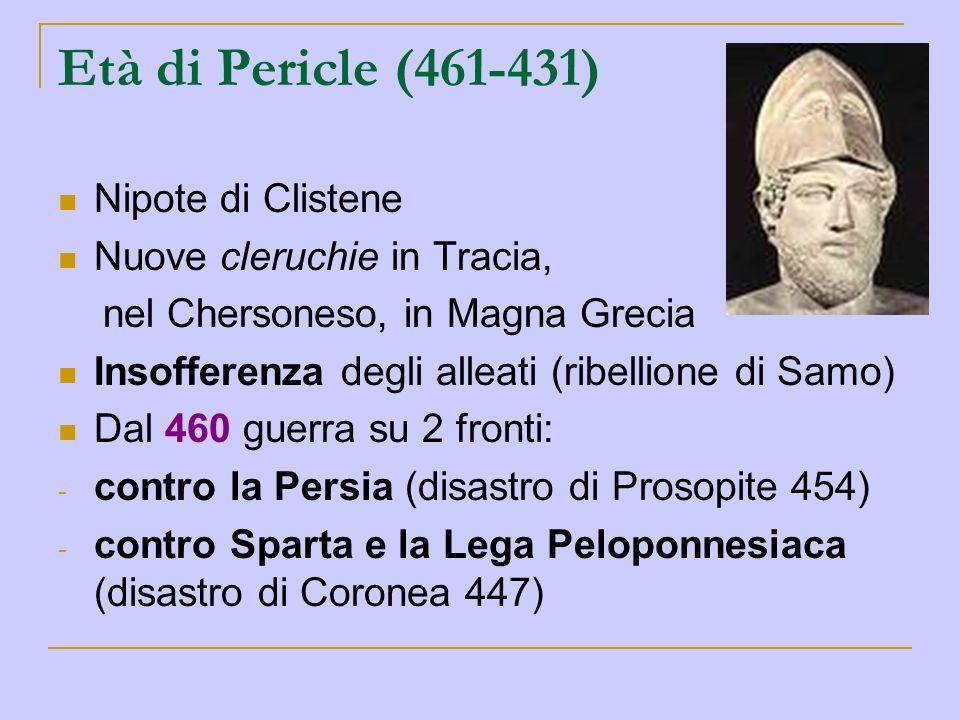 Età di Pericle (461-431) Nipote di Clistene Nuove cleruchie in Tracia, nel Chersoneso, in Magna Grecia Insofferenza degli alleati (ribellione di Samo)