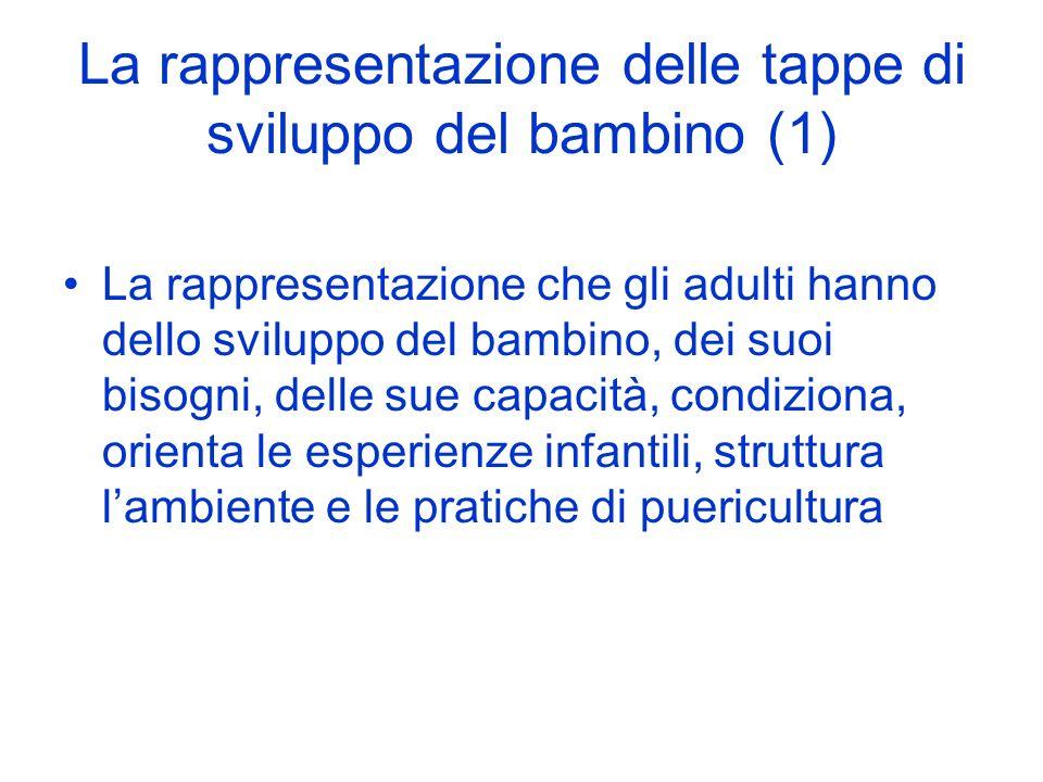 La rappresentazione delle tappe di sviluppo del bambino (1) La rappresentazione che gli adulti hanno dello sviluppo del bambino, dei suoi bisogni, delle sue capacità, condiziona, orienta le esperienze infantili, struttura lambiente e le pratiche di puericultura
