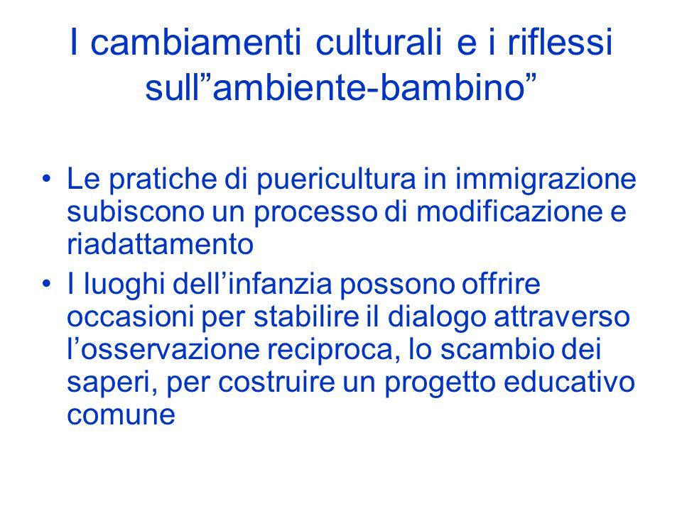 I cambiamenti culturali e i riflessi sullambiente-bambino Le pratiche di puericultura in immigrazione subiscono un processo di modificazione e riadatt