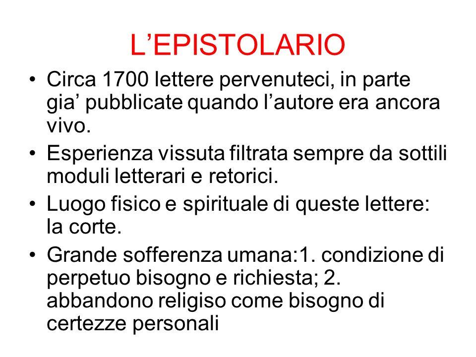 LEPISTOLARIO Circa 1700 lettere pervenuteci, in parte gia pubblicate quando lautore era ancora vivo.