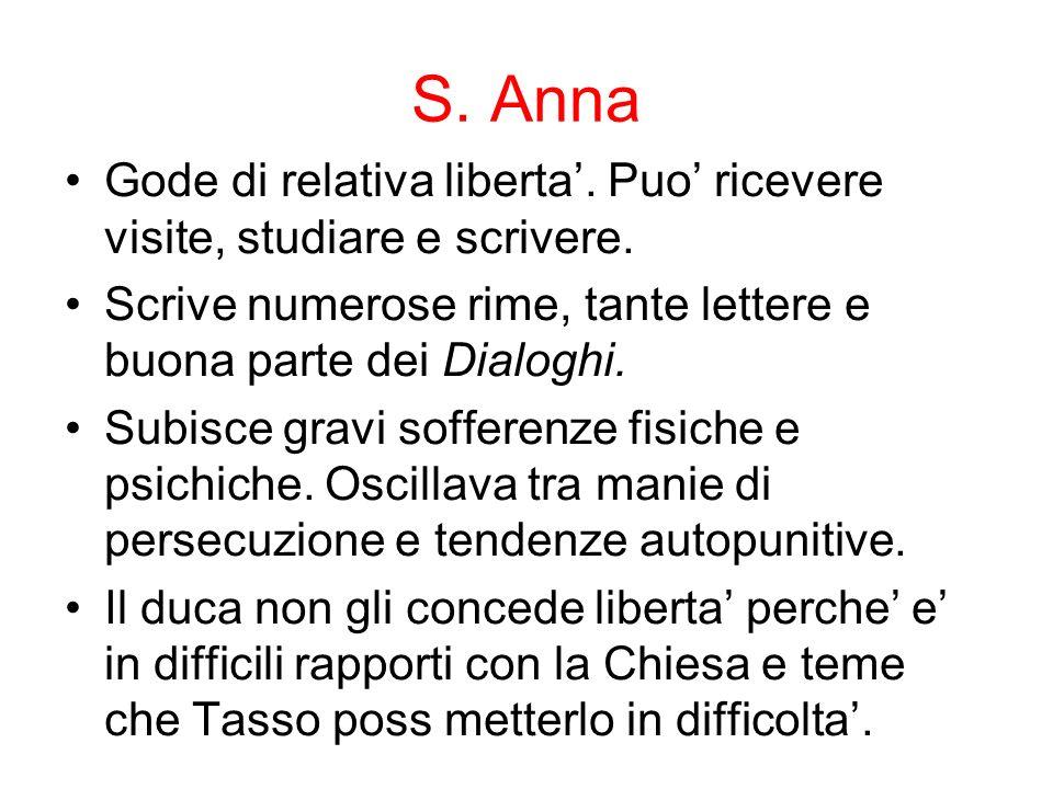 S. Anna Gode di relativa liberta. Puo ricevere visite, studiare e scrivere. Scrive numerose rime, tante lettere e buona parte dei Dialoghi. Subisce gr