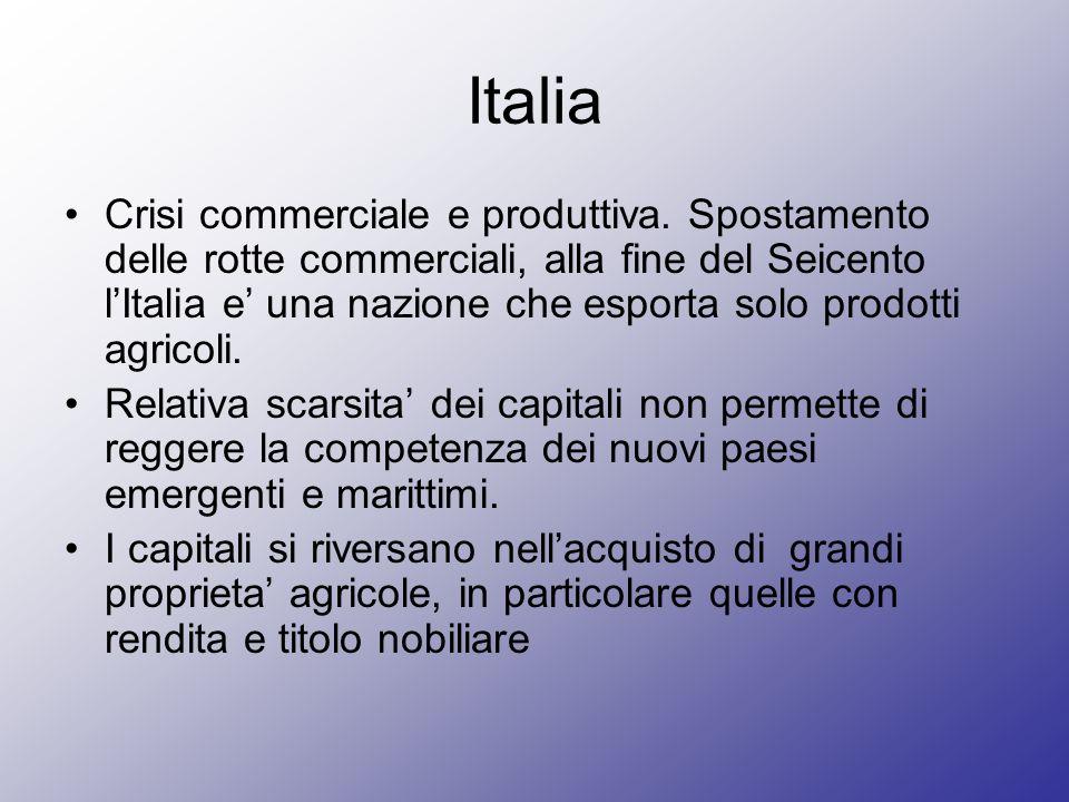Italia Crisi commerciale e produttiva. Spostamento delle rotte commerciali, alla fine del Seicento lItalia e una nazione che esporta solo prodotti agr