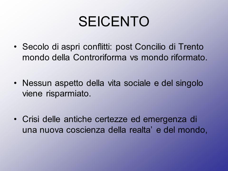 SEICENTO Secolo di aspri conflitti: post Concilio di Trento mondo della Controriforma vs mondo riformato. Nessun aspetto della vita sociale e del sing