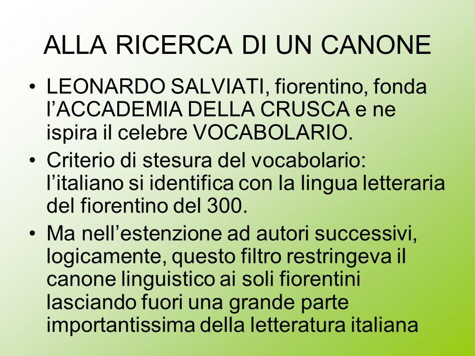 ALLA RICERCA DI UN CANONE LEONARDO SALVIATI, fiorentino, fonda lACCADEMIA DELLA CRUSCA e ne ispira il celebre VOCABOLARIO. Criterio di stesura del voc