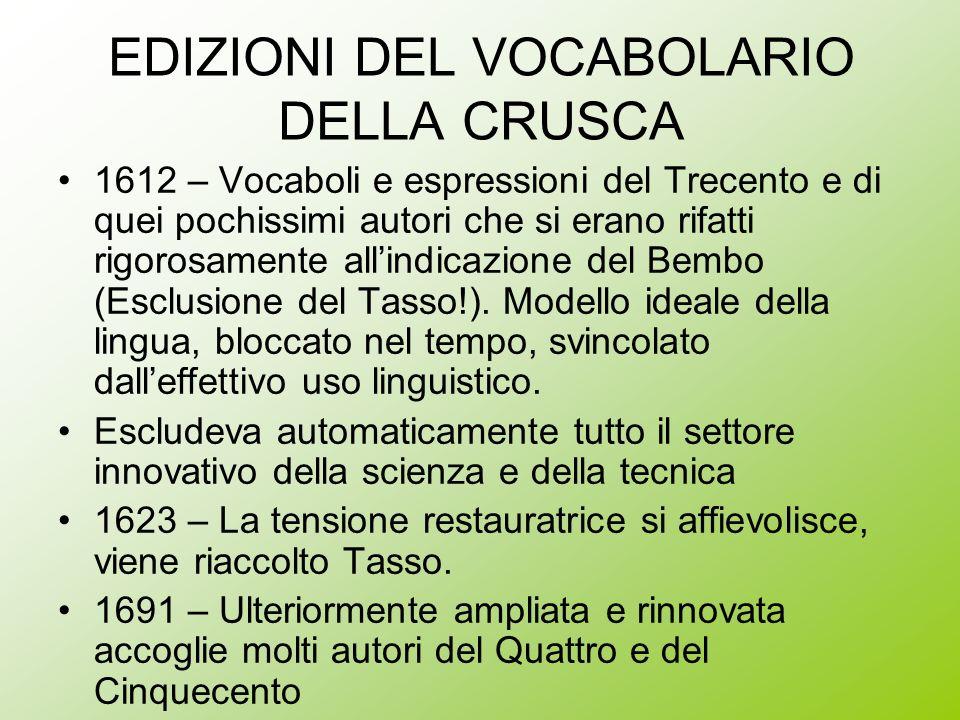 EDIZIONI DEL VOCABOLARIO DELLA CRUSCA 1612 – Vocaboli e espressioni del Trecento e di quei pochissimi autori che si erano rifatti rigorosamente allind