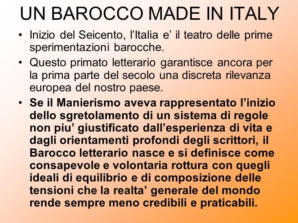 UN BAROCCO MADE IN ITALY Inizio del Seicento, lItalia e il teatro delle prime sperimentazioni barocche. Questo primato letterario garantisce ancora pe