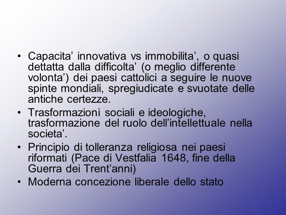 Capacita innovativa vs immobilita, o quasi dettatta dalla difficolta (o meglio differente volonta) dei paesi cattolici a seguire le nuove spinte mondi