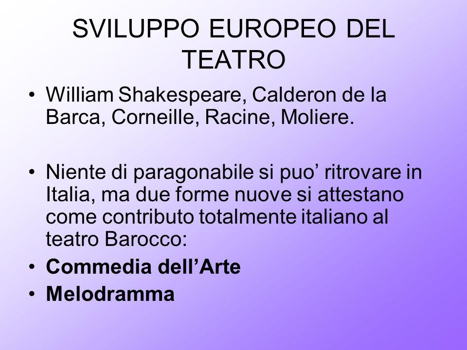 SVILUPPO EUROPEO DEL TEATRO William Shakespeare, Calderon de la Barca, Corneille, Racine, Moliere. Niente di paragonabile si puo ritrovare in Italia,