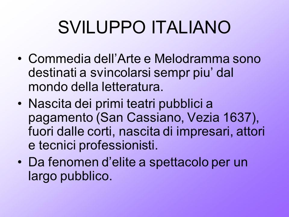 SVILUPPO ITALIANO Commedia dellArte e Melodramma sono destinati a svincolarsi sempr piu dal mondo della letteratura. Nascita dei primi teatri pubblici
