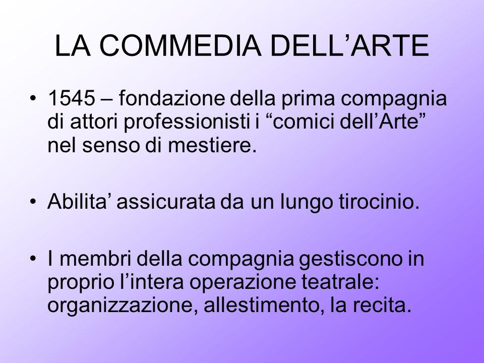 LA COMMEDIA DELLARTE 1545 – fondazione della prima compagnia di attori professionisti i comici dellArte nel senso di mestiere. Abilita assicurata da u