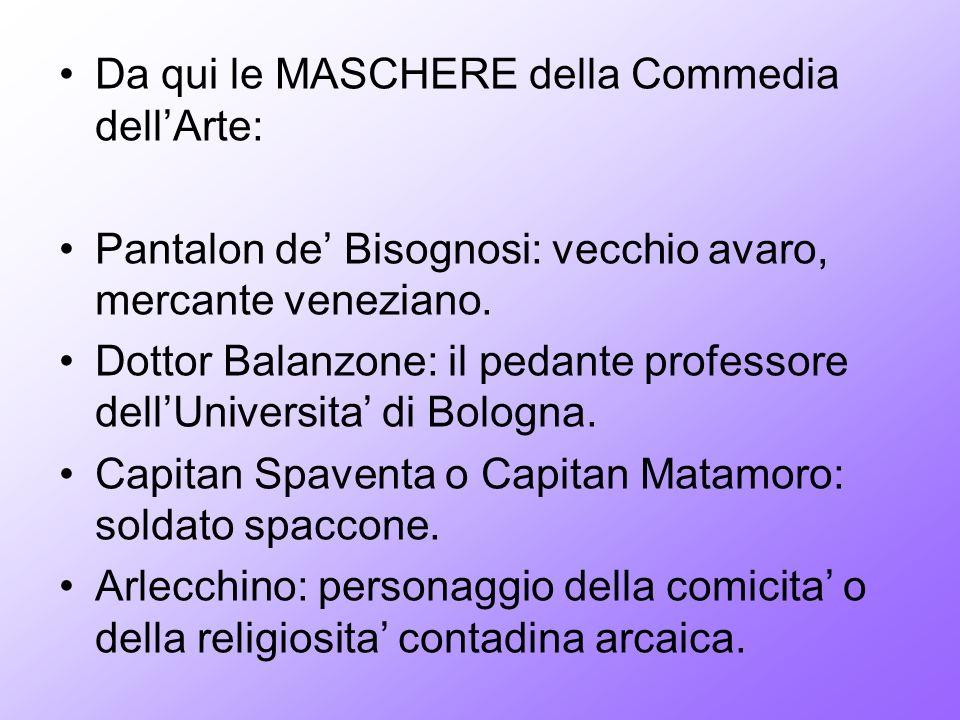 Da qui le MASCHERE della Commedia dellArte: Pantalon de Bisognosi: vecchio avaro, mercante veneziano. Dottor Balanzone: il pedante professore dellUniv