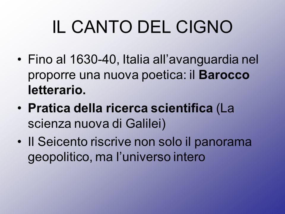 IL CANTO DEL CIGNO Fino al 1630-40, Italia allavanguardia nel proporre una nuova poetica: il Barocco letterario. Pratica della ricerca scientifica (La