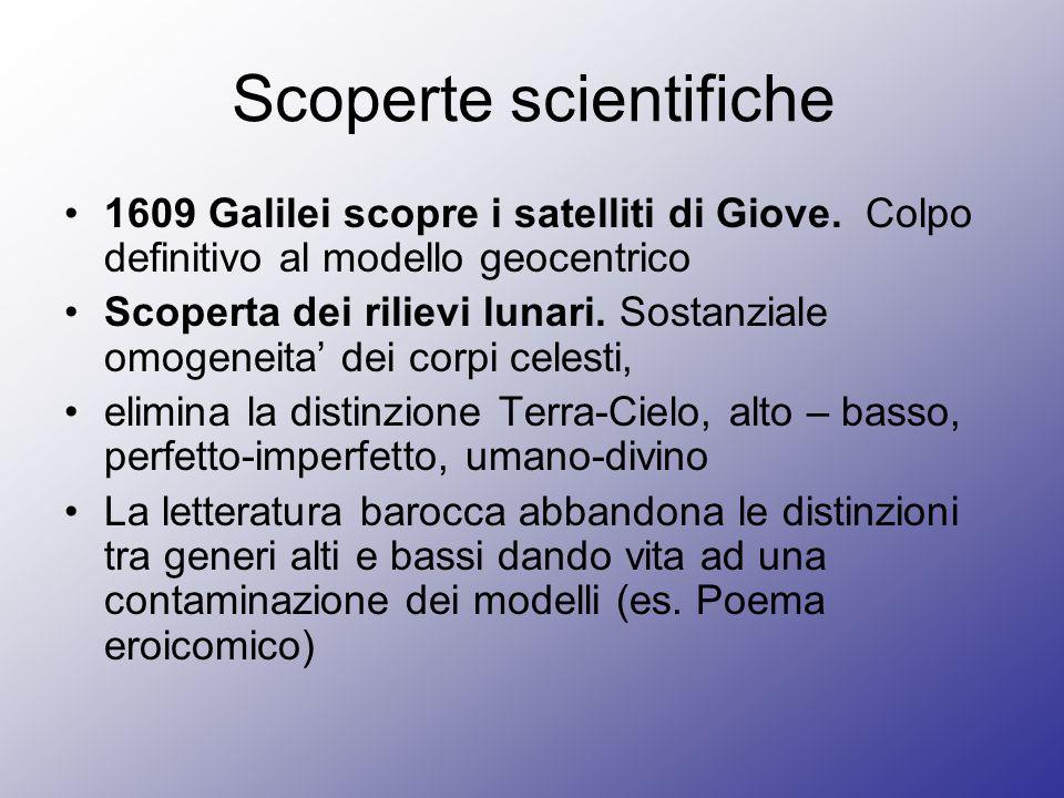 Scoperte scientifiche 1609 Galilei scopre i satelliti di Giove. Colpo definitivo al modello geocentrico Scoperta dei rilievi lunari. Sostanziale omoge