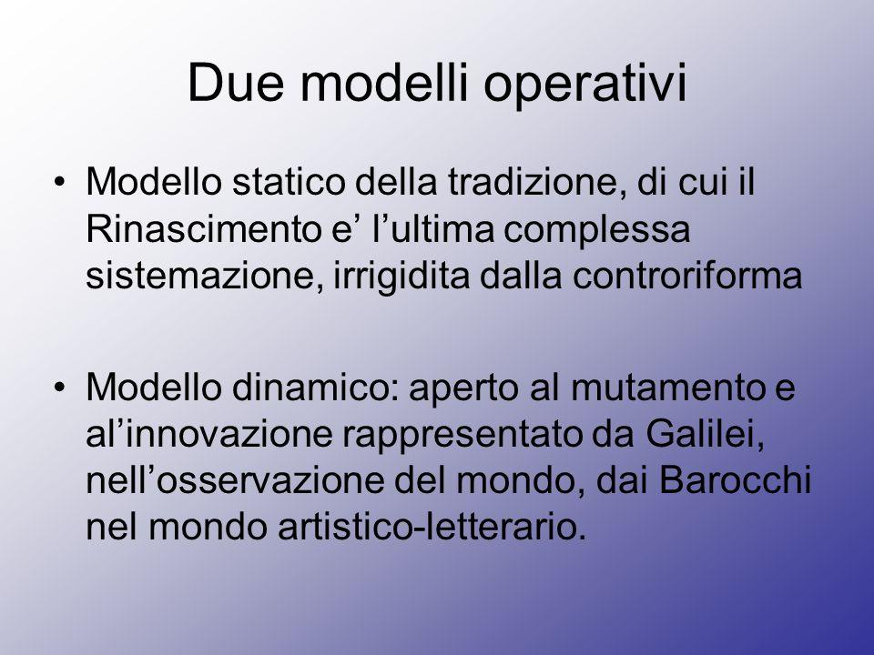 Due modelli operativi Modello statico della tradizione, di cui il Rinascimento e lultima complessa sistemazione, irrigidita dalla controriforma Modell