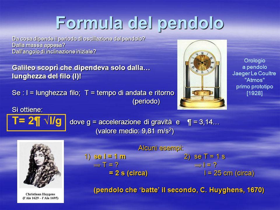 Formula del pendolo Da cosa dipende il periodo di oscillazione del pendolo? Dalla massa appesa? Dallangolo di inclinazione iniziale? Galileo scoprì ch