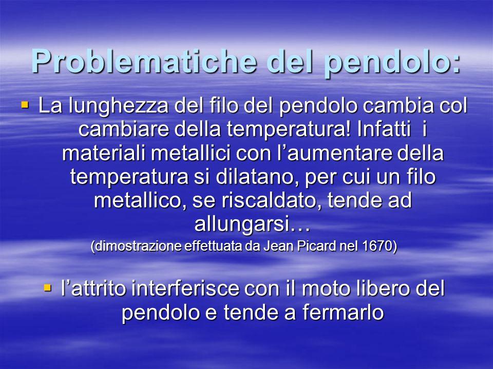 Problematiche del pendolo: La lunghezza del filo del pendolo cambia col cambiare della temperatura! Infatti i materiali metallici con laumentare della