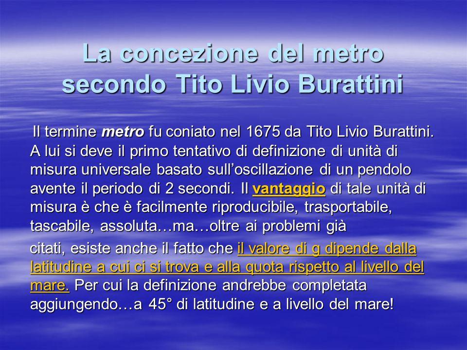 La concezione del metro secondo Tito Livio Burattini Il termine metro fu coniato nel 1675 da Tito Livio Burattini. A lui si deve il primo tentativo di