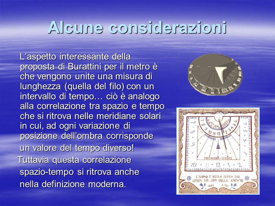 Alcune considerazioni Laspetto interessante della proposta di Burattini per il metro è che vengono unite una misura di lunghezza (quella del filo) con