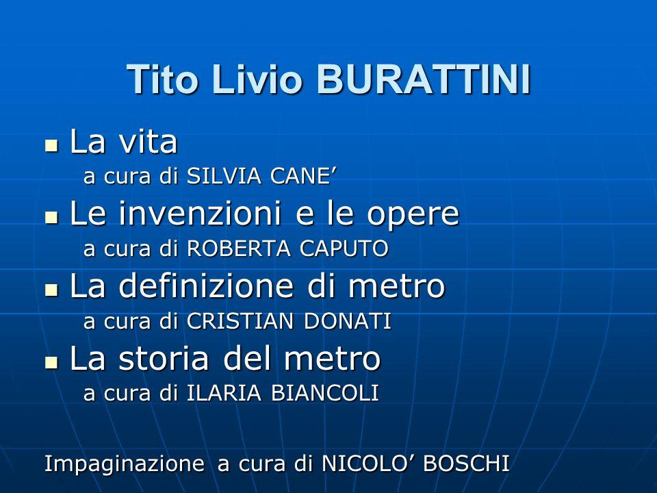 Tito Livio BURATTINI La vita La vita a cura di SILVIA CANE a cura di SILVIA CANE Le invenzioni e le opere Le invenzioni e le opere a cura di ROBERTA C