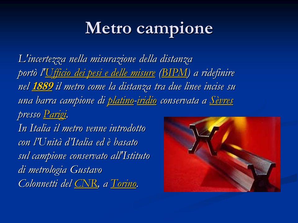 Metro campione L'incertezza nella misurazione della distanza portò l'Ufficio dei pesi e delle misure (BIPM) a ridefinire Ufficio dei pesi e delle misu