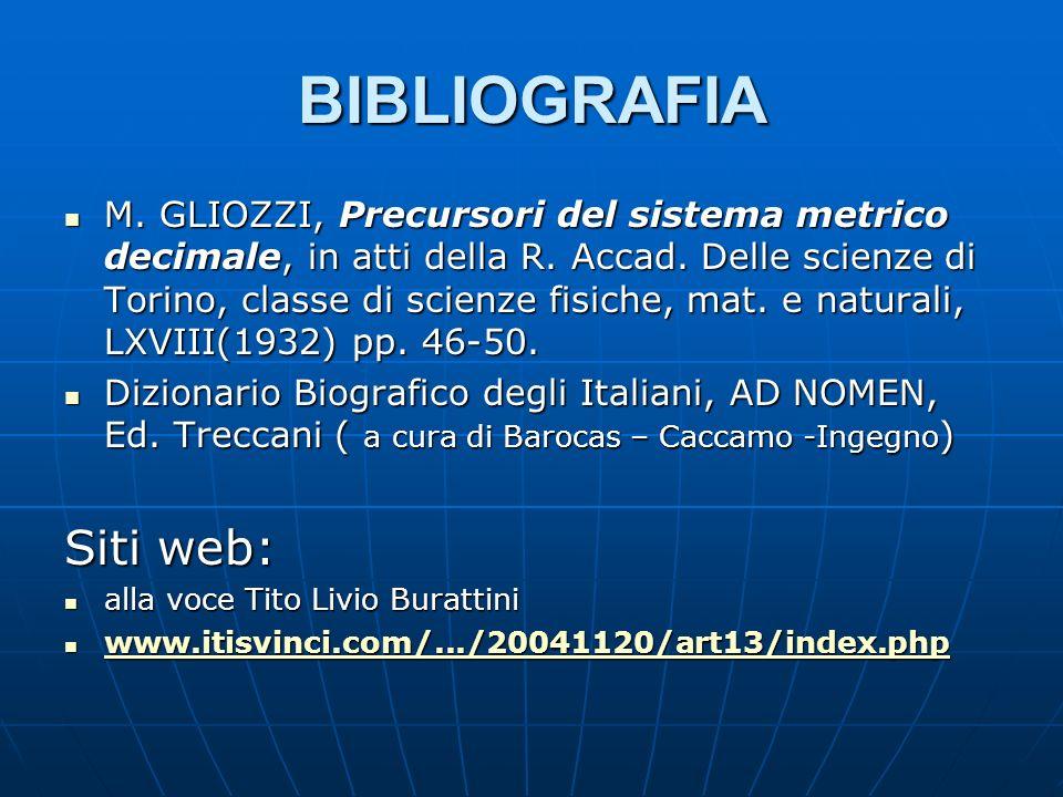 BIBLIOGRAFIA M. GLIOZZI, Precursori del sistema metrico decimale, in atti della R. Accad. Delle scienze di Torino, classe di scienze fisiche, mat. e n
