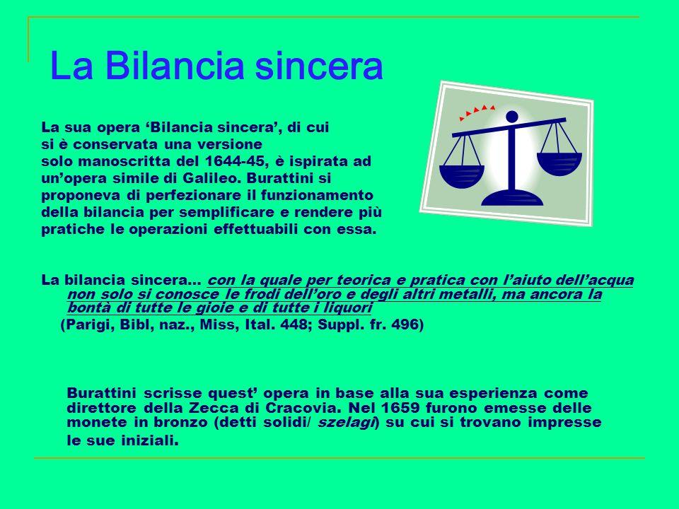 La Bilancia sincera La sua opera Bilancia sincera, di cui si è conservata una versione solo manoscritta del 1644-45, è ispirata ad unopera simile di G