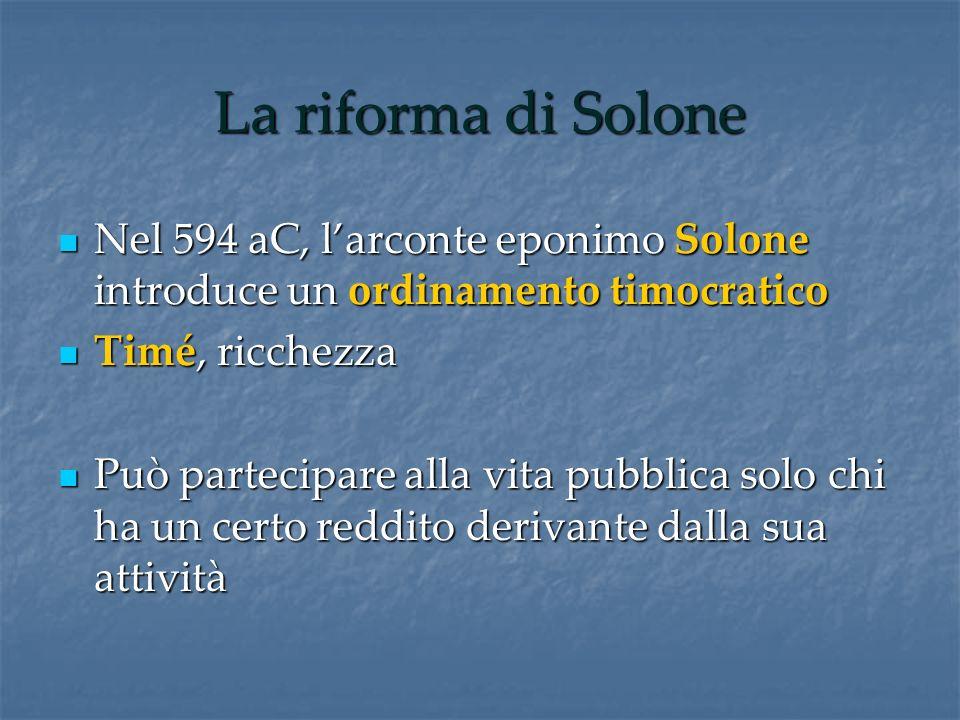 La riforma di Solone Nel 594 aC, larconte eponimo Solone introduce un ordinamento timocratico Nel 594 aC, larconte eponimo Solone introduce un ordinam