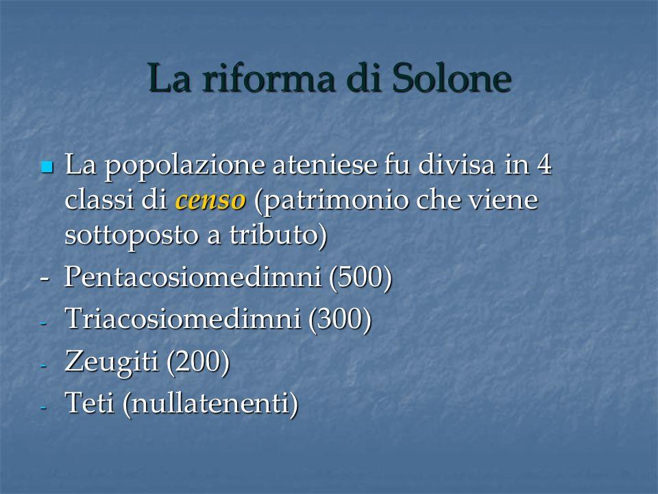 La riforma di Solone La popolazione ateniese fu divisa in 4 classi di censo (patrimonio che viene sottoposto a tributo) La popolazione ateniese fu div