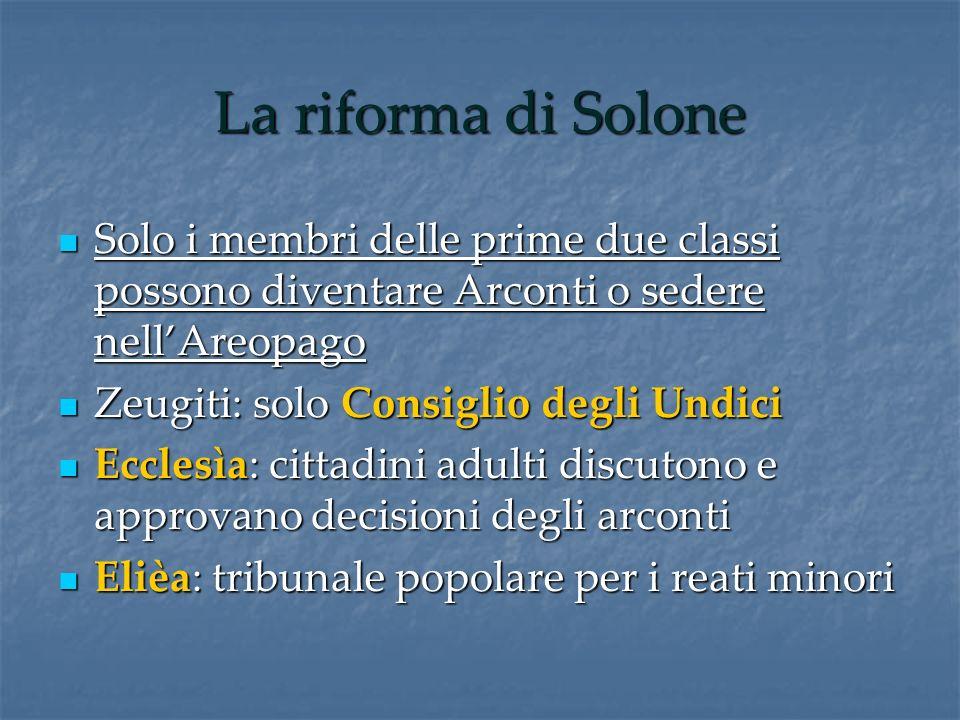La riforma di Solone Solo i membri delle prime due classi possono diventare Arconti o sedere nellAreopago Solo i membri delle prime due classi possono