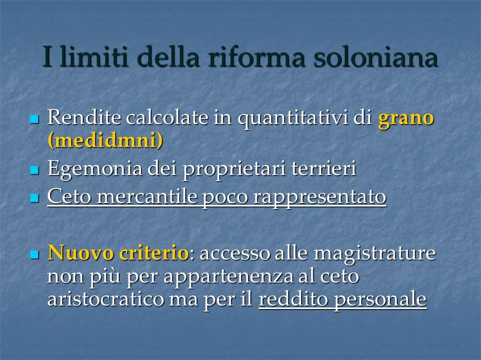 I limiti della riforma soloniana Rendite calcolate in quantitativi di grano (medidmni) Rendite calcolate in quantitativi di grano (medidmni) Egemonia