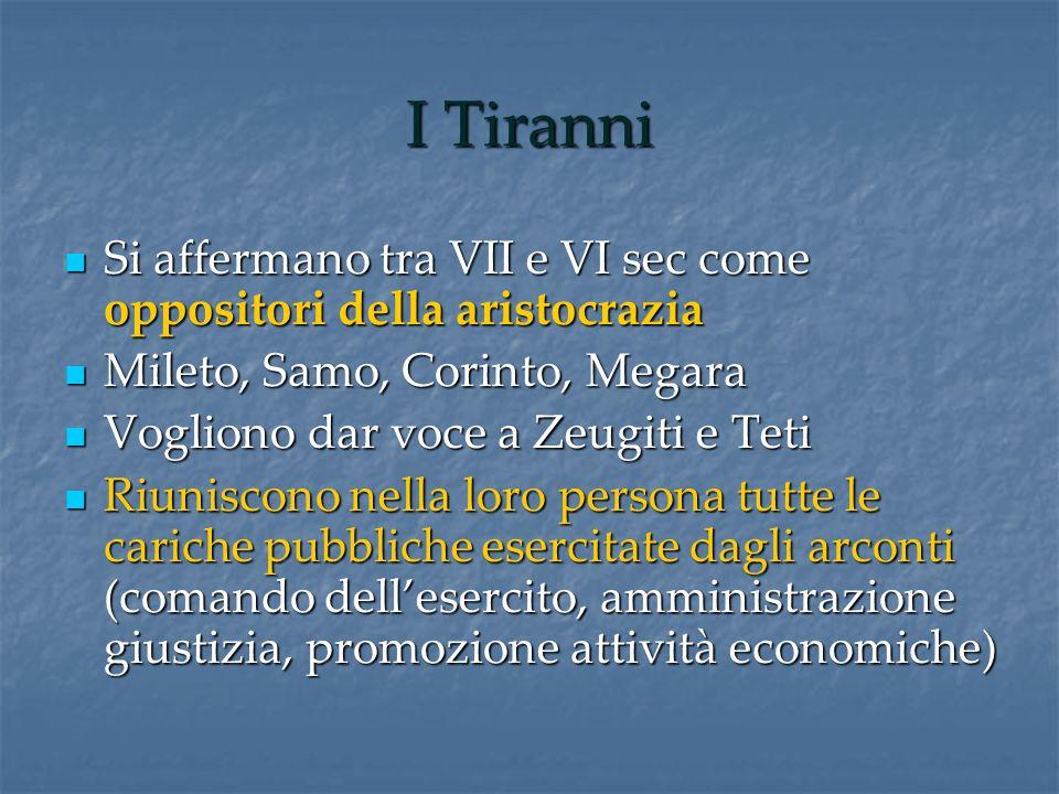 I Tiranni Si affermano tra VII e VI sec come oppositori della aristocrazia Si affermano tra VII e VI sec come oppositori della aristocrazia Mileto, Sa