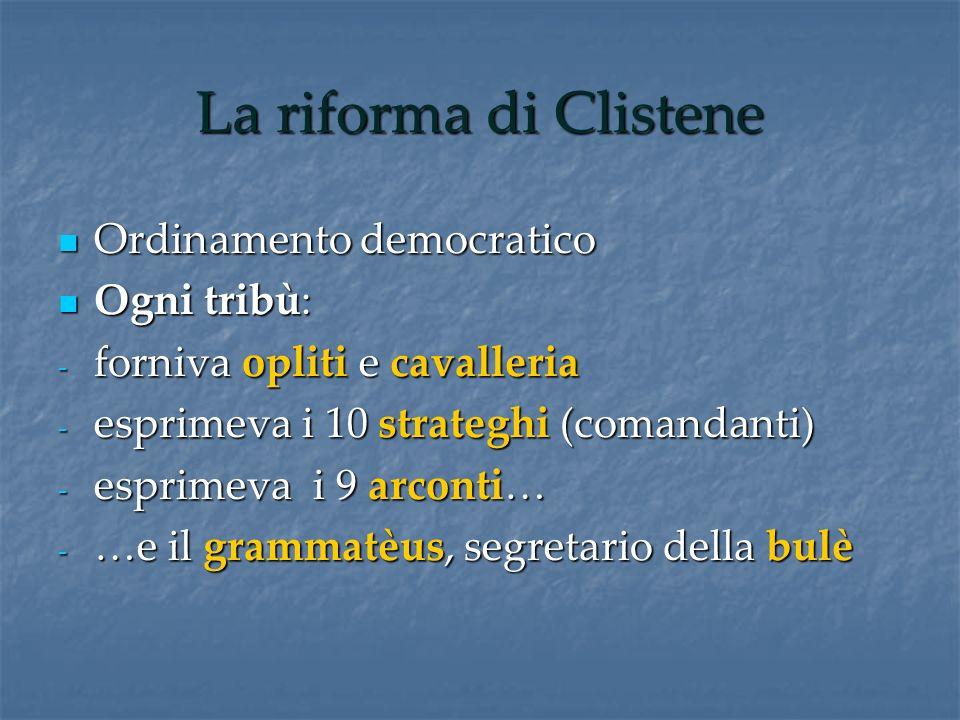 La riforma di Clistene Ordinamento democratico Ordinamento democratico Ogni tribù: Ogni tribù: - forniva opliti e cavalleria - esprimeva i 10 strategh