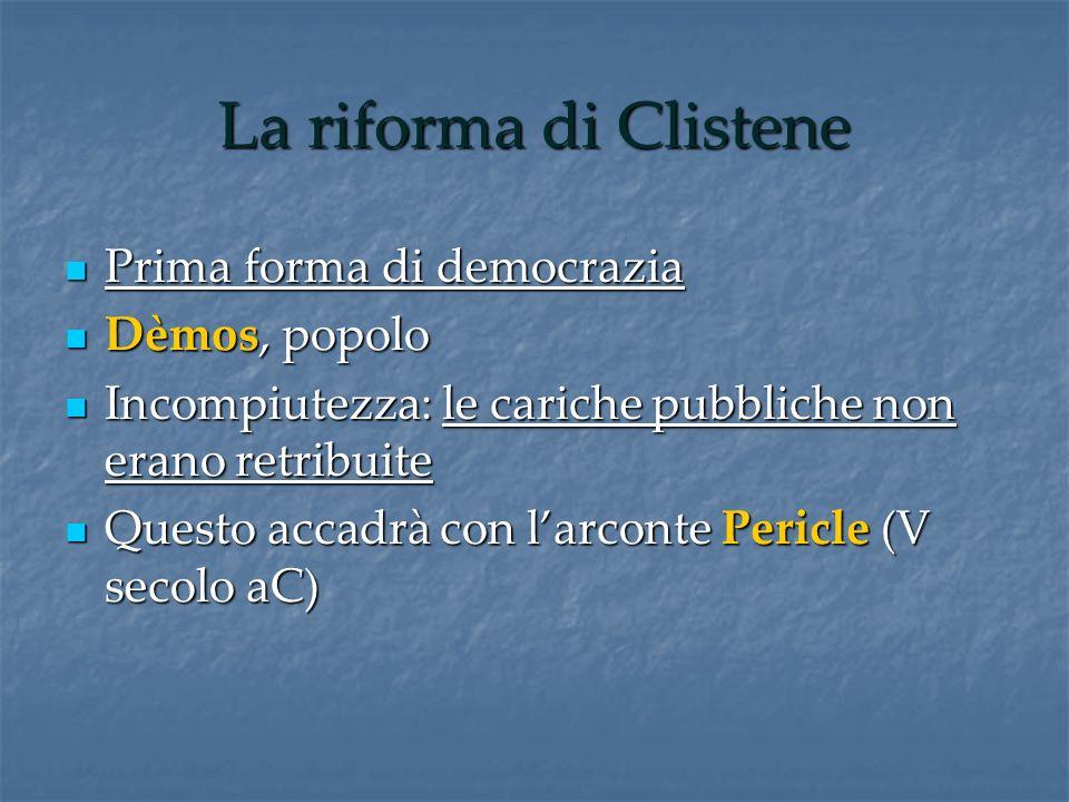 La riforma di Clistene Prima forma di democrazia Prima forma di democrazia Dèmos, popolo Dèmos, popolo Incompiutezza: le cariche pubbliche non erano r