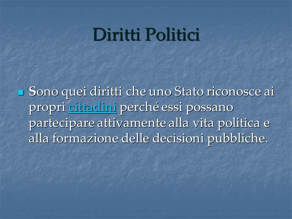 Diritti Politici Sono quei diritti che uno Stato riconosce ai propri cittadini perché essi possano partecipare attivamente alla vita politica e alla f
