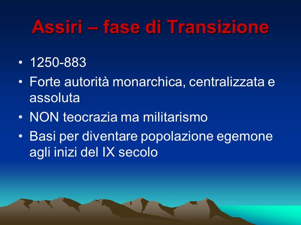 Assiri – fase di Transizione 1250-883 Forte autorità monarchica, centralizzata e assoluta NON teocrazia ma militarismo Basi per diventare popolazione