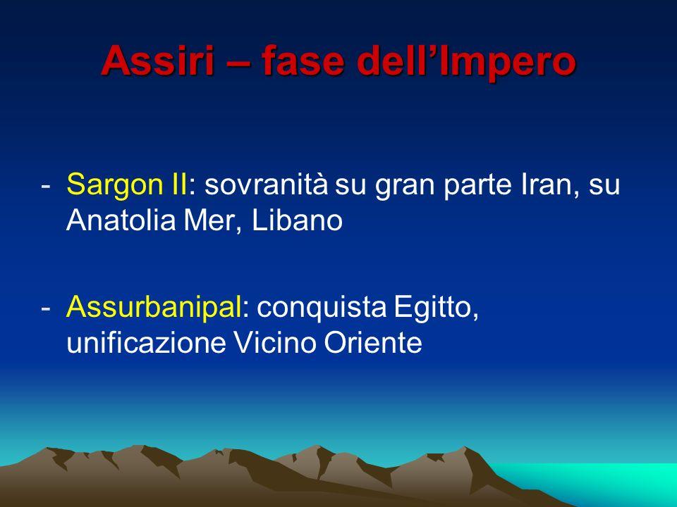Assiri – fase dellImpero -Sargon II: sovranità su gran parte Iran, su Anatolia Mer, Libano -Assurbanipal: conquista Egitto, unificazione Vicino Orient