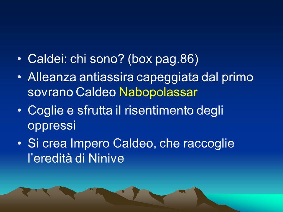 Caldei: chi sono? (box pag.86) Alleanza antiassira capeggiata dal primo sovrano Caldeo Nabopolassar Coglie e sfrutta il risentimento degli oppressi Si