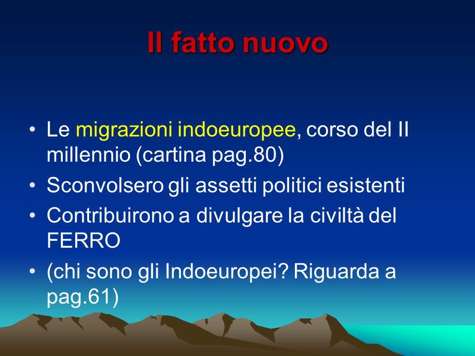 Il fatto nuovo Le migrazioni indoeuropee, corso del II millennio (cartina pag.80) Sconvolsero gli assetti politici esistenti Contribuirono a divulgare