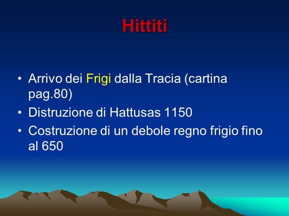 Hittiti Arrivo dei Frigi dalla Tracia (cartina pag.80) Distruzione di Hattusas 1150 Costruzione di un debole regno frigio fino al 650