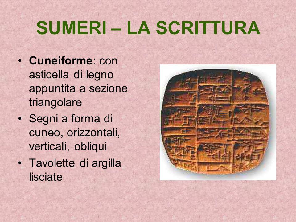 SUMERI – LA SCRITTURA Cuneiforme: con asticella di legno appuntita a sezione triangolare Segni a forma di cuneo, orizzontali, verticali, obliqui Tavol