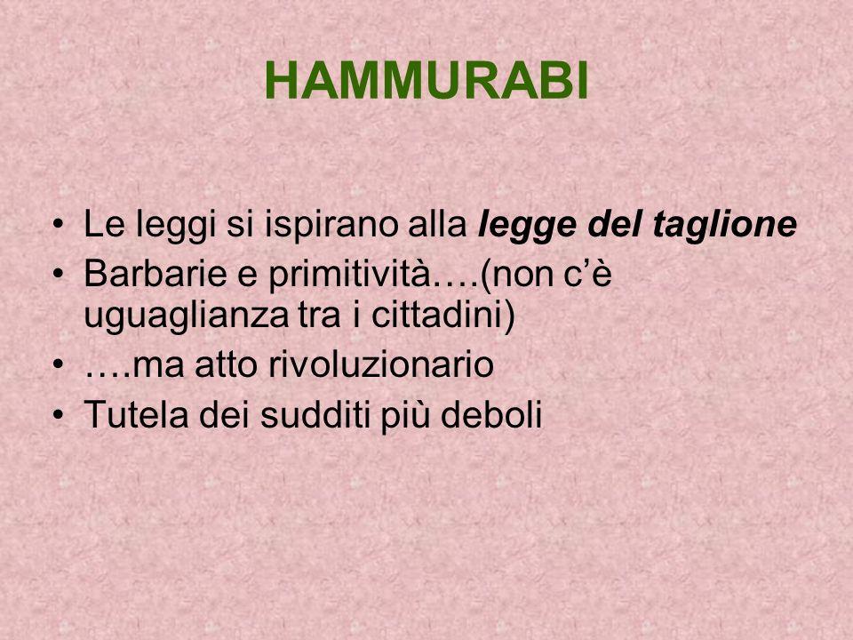 HAMMURABI Le leggi si ispirano alla legge del taglione Barbarie e primitività….(non cè uguaglianza tra i cittadini) ….ma atto rivoluzionario Tutela de