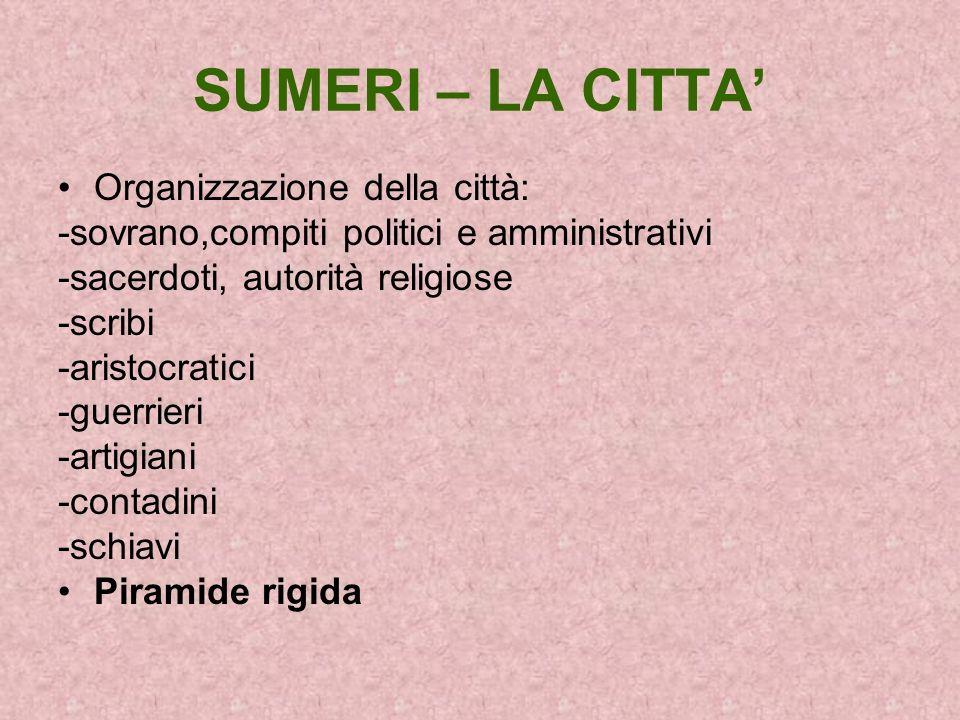 SUMERI – LA CITTA Organizzazione della città: -sovrano,compiti politici e amministrativi -sacerdoti, autorità religiose -scribi -aristocratici -guerri