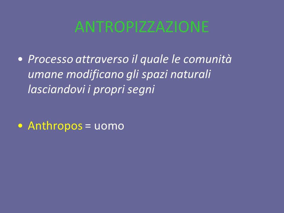 ANTROPIZZAZIONE Processo attraverso il quale le comunità umane modificano gli spazi naturali lasciandovi i propri segni Anthropos = uomo